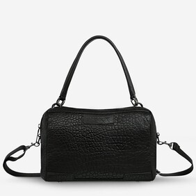 Status Anxiety Don't Ask Black Bubble Leather Handbag