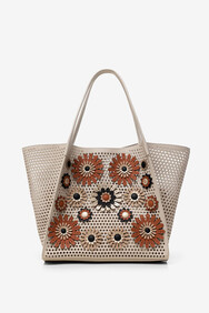 Desigual - Taupe Flower Embossed 2 in 1 Shopper Bag
