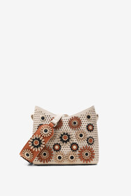 Desigual - Taupe Floral Embossed Cross Body Bag