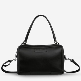 Status Anxiety Don't Ask Black Leather Handbag